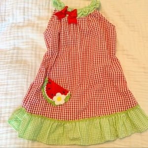 Rare Editions Watermelon Seersucker Dress